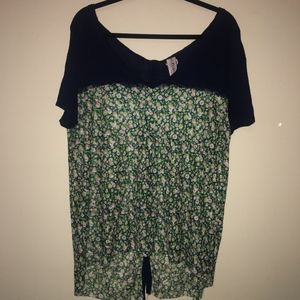 FREE PEOPLE Navy Blue/Floral Top